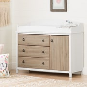 South Shore Catimini Changing Table with Removable Changing Station, Pure White and Rustic Oak (10624)