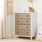 South Shore Catimini 4-Drawer Chest, Pure White and Rustic Oak (10625)
