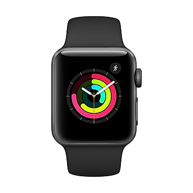 Apple Watch Series 3, 42mm, GPS, Space Grey Aluminum Case with Black Sport Band, (MQL12CL/A)