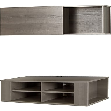 South Shore City Life 48'' Wall Mounted Media Console and Storage Unit, Grey Maple (11245)