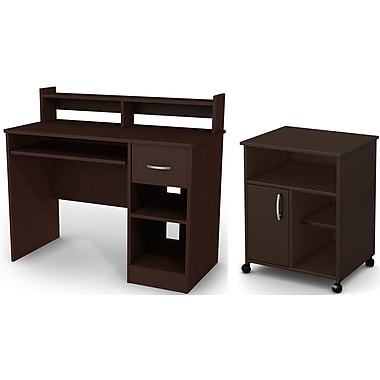 South Shore Axess Desk with Keyboard Tray and Printer Stand, Chocolate (11267)