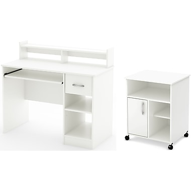 South Shore Axess Desk with Keyboard Tray and Printer Stand, Pure White (11269)