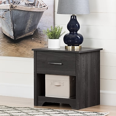 South Shore Fusion 1-Drawer Nightstand, Grey Oak (11315)