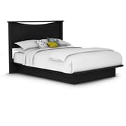 "South Shore Step One Queen Platform Bed with Mouldings and Headboard 54/60"", Pure Black (11275)"