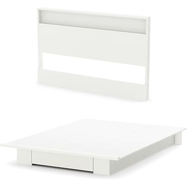 South Shore Holland Full/Queen Platform Bed and Headboard Set , Pure White (3340A2)
