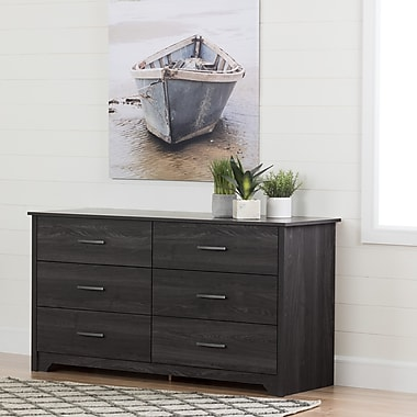 South Shore Fusion 6-Drawer Double Dresser, Grey Oak (11314)