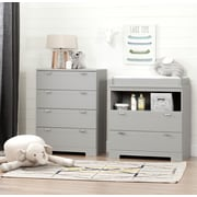 South Shore Reevo Changing Table and 4-Drawer Chest Set , Soft Grey (11199)
