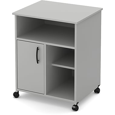 South Shore Axess Printer Cart on Wheels, Soft Grey (10766)