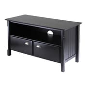 Winsome Timber Wood TV Stand With 2-Sliding Doors, Black