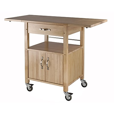 Winsome Wood Double Drop Leaf Kitchen Cart With 1-Drawer, Cabinet and Shelf, Beech