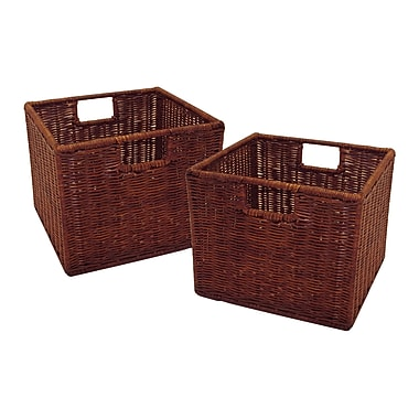 Winsome Leo Rattan Small Wired Basket, Antique Walnut, 2/Set