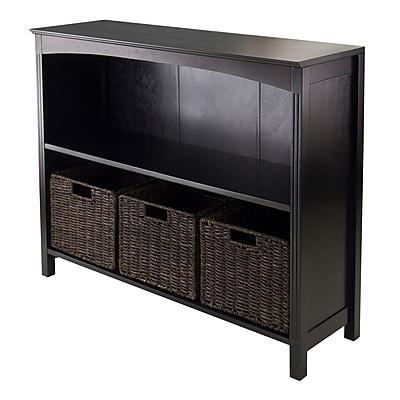 Winsome Solid Wood 4-Pc Storage 3-Tier Shelf With 3 Small Corn Husk Baskets, Dark Espresso