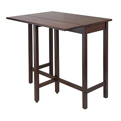 """Winsome Lynnwood 35.43"""" x 39.39"""" x 30"""" Wood Rectangular Drop Leaf High Table, Antique Walnut"""