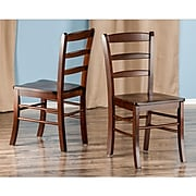 Winsome Wood Ladder Back Chair, Antique Walnut, 2 Pieces