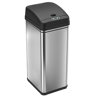 Stainless-Steel iTouchless Deodorizer Filtered Infrared Sensor Automatic Touchless Trash Can, 13 gal.