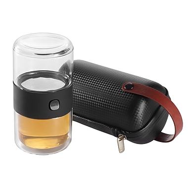 Zens – Service à thé en verre série PI avec trousse, noir (D5500208)