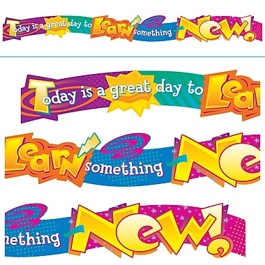 TREND T-25003 10' Today is a great day to learn Quotable Expressions Banner, Multicolor