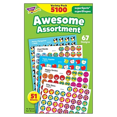 Trend Enterprises® SuperSpots® and SuperShapes Stickers, Awesome Assortment
