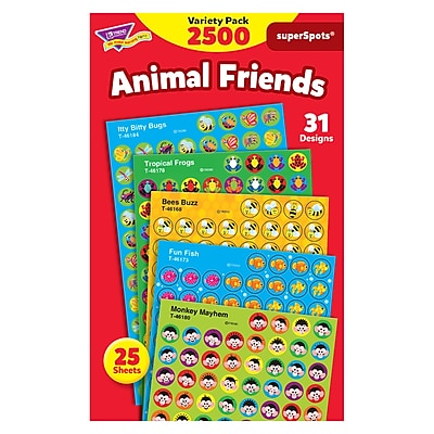 Trend superSpots Stickers, Animal Friends Variety Pack