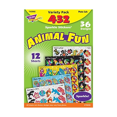 Trend Sparkle Stickers, Animal Fun Variety Pack