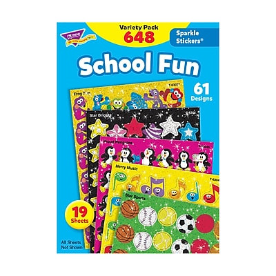 Trend Enterprises® Sparkle Stickers, School Fun Variety Pack