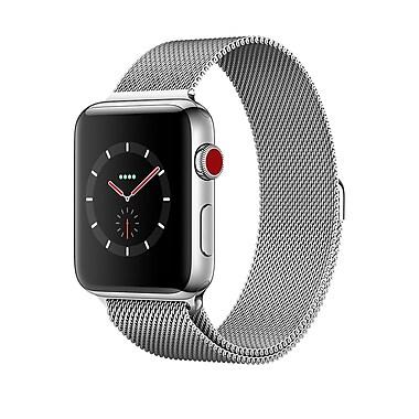 Apple – Montre Apple Watch Series 3, 42 mm, GPS + cellulaire, boîtier en acier inoxydable avec bracelet milanais, MR1J2CL/A