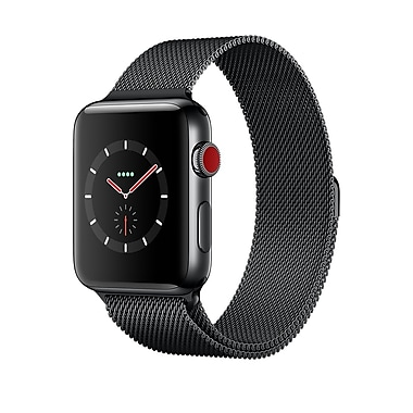 Apple Watch Series 3, 42mm, GPS + Cellular, Space Black Stainless Steel Case with Space Black Milanese Loop, MR1L2CL/A