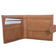 Elliott Nathan Signature Series Mens Cowhide Leather Billfold, Coin Pocket, 3 Slots, Tan