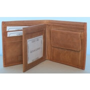 Elliott Nathan Signature Series Mens Cowhide Leather Bifold, 6 Slots, Coin Pocket, ID Holder, Tan
