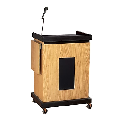 Oklahoma Sound Smart Cart Audio Visual Lectern with Sound, Light Oak (SCLS-OK)