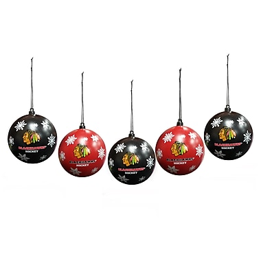 Forever Collectibles - Boules décoratives incassables des Blackhawks de Chicago avec flocons de neige, 5/paquet