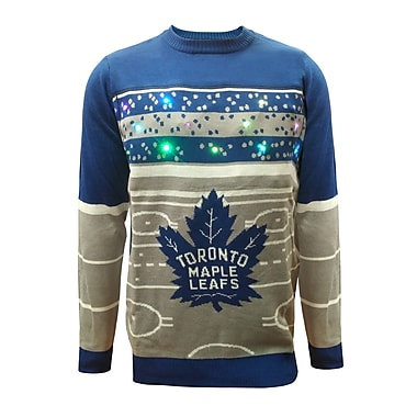Forever Collectibles Toronto Maple Leafs Hockey Rink Light Up Sweater, Large