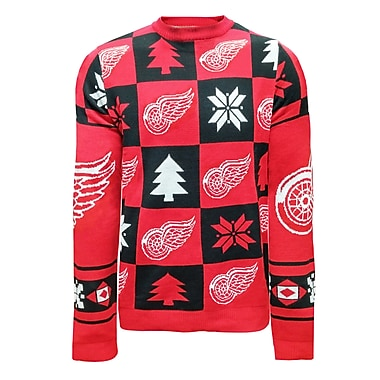 Forever Collectibles Detroit Red Wings Ugly Patches Sweater, Small