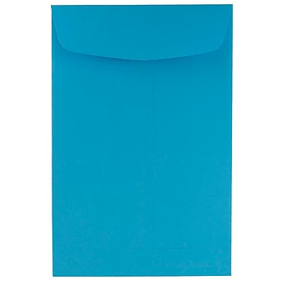 JAM Paper® 6 x 9 Open End Envelopes, Brite Hue Blue Recycled, 10/pack (88087B)