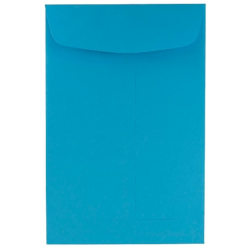JAM Paper® 6 x 9 Open End Catalog Colored Envelopes, Blue Recycled, 10/Pack (88087B)