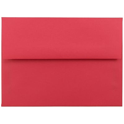 JAM Paper® A6 Invitation Envelopes, 4.75 x 6.5, Brite Hue Red Recycled, 250/box (67503H)