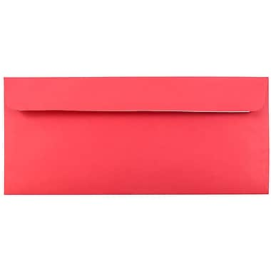 JAM Paper® #10 Business Envelopes with Peel and Seal Closure, 4 1/8 x 9 1/2, Brite Hue Christmas Red Recycled, 25/pack (11789)