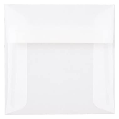 JAM Paper® 5 x 5 Square Envelopes, Clear Translucent Vellum, 1000/carton (31032B)