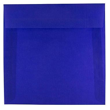 JAM Paper® 6.5 x 6.5 Square Envelopes, Primary Blue Translucent Vellum, 25/pack (PACV527)