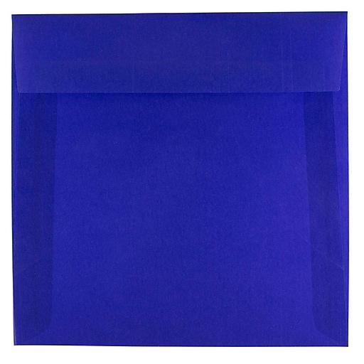 JAM Paper® 6.5 x 6.5 Square Translucent Vellum Invitation Envelopes, Primary Blue, 25/Pack (PACV527)