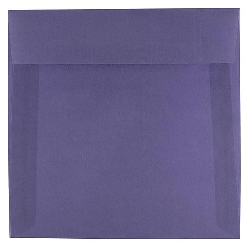 JAM Paper® 6.5 x 6.5 Square Translucent Vellum Invitation Envelopes, Wisteria Purple, Bulk 250/Box (1592113H)