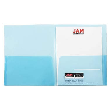 JAM Paper® Plastic See Through Two Pocket Folder, Blue, 108/pack (381BLUE108)