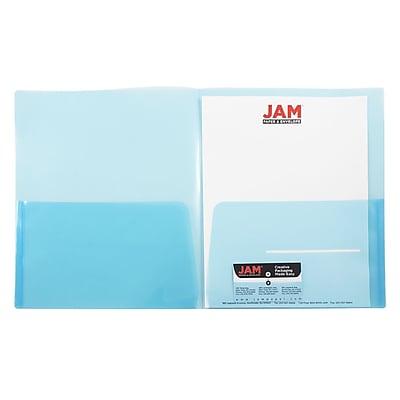 JAM Paper® Plastic See Through Two Pocket Folder, Blue, 6/pack (381BLUED)