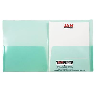JAM Paper® Plastic See Through Two Pocket Folder, Green, 6/pack (381GREEND)
