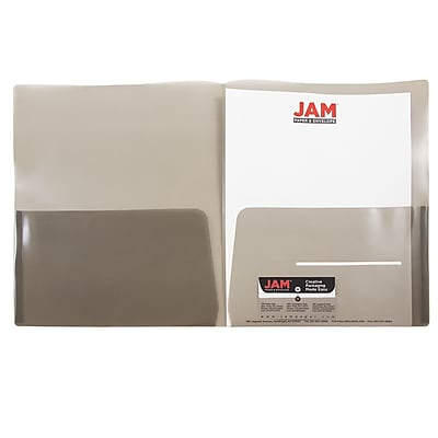 JAM Paper® Plastic See Through Two Pocket Folder, Smoke Grey, 6/pack (381SMOKED)