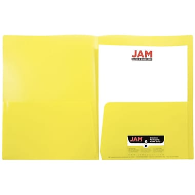JAM Paper® Plastic See Through Two Pocket Folder, Yellow, 6/pack (381YELLOWD)
