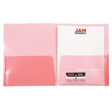 JAM Paper® Plastic See Through Two Pocket Folder, Red, 6/pack (381REDD)