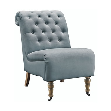 Linon Tash Washed Blue Roll Back Tufted Chair (STCA4265)