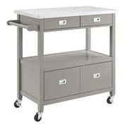 Linon Tifton Grey Kitchen Cart with Stainless Steel Top (STCA4277)