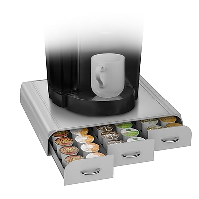 Mind Reader Anchor Coffee Pod Storage Drawer For 36 K-Cup, Silver/Gray (TRY3PC-GRY)